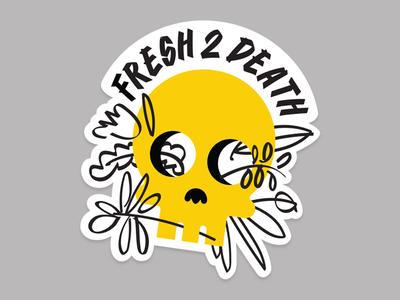 Fresh 2 Death rad floral fresh sticker skull