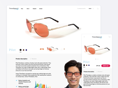 Ecommerce Product Page sunglasses eyeglasses page product mobile desktop ui ecommerce