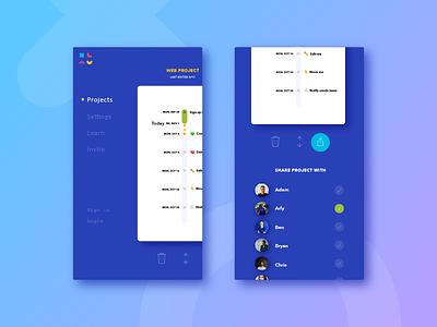 Menu concept ux app mobile ui menu