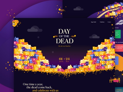 Day of the Dead website typography illustration colorful web landing page