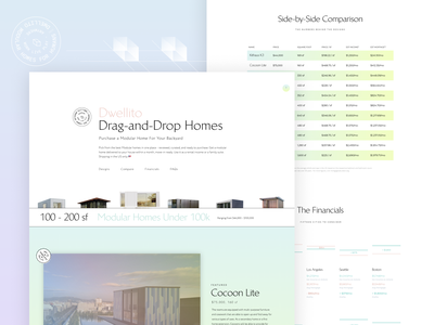 Drag-and-Drop Homes 🏠 bold color typeface modular gradient landing page web