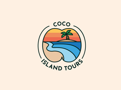 Coco Island Tours: Seychelles web branding logo design design vector illustration branding concept logo