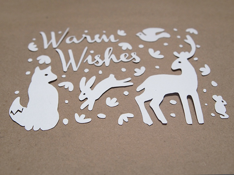 Warm Wishes Paper Cut Christmas Card christmas card illustration paper cut cut paper type animals woodland texture photo otomi photography