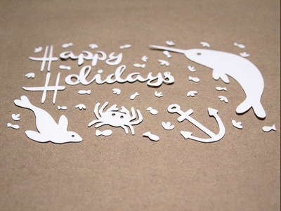 Happy Holidays Paper Cut Christmas Card illustration christmas type animals cut paper photography ocean paper cut narwhal otomi fish paper