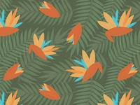 Vintage Florida Birds Of Paradise Pattern
