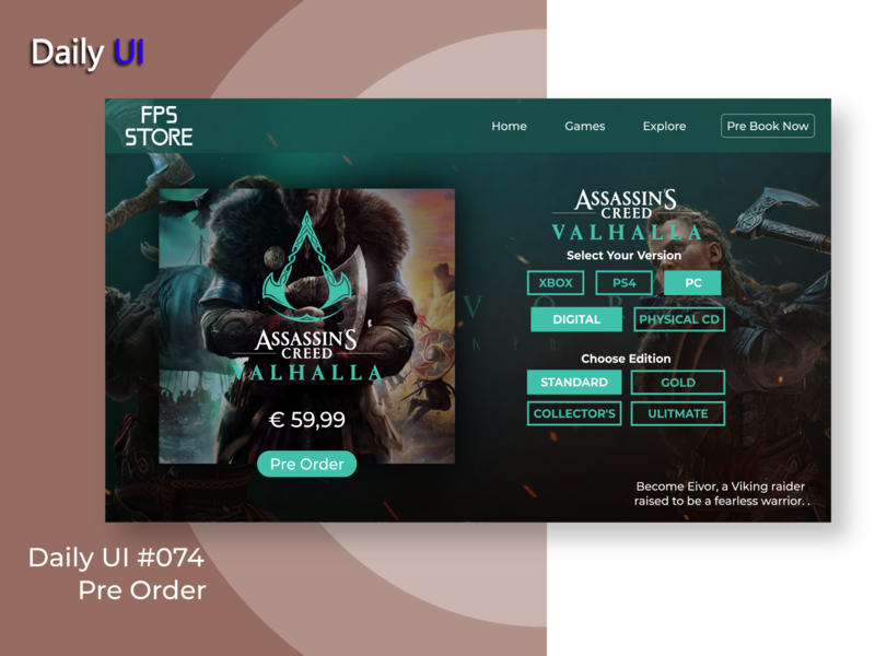 Daily UI #072 | Pre Order web gaming pre order app ux uidesign ui design daily ui dailyui daily 100 challenge daily