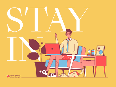 Homeworking! character stay home coronavirus cartoon design illustration