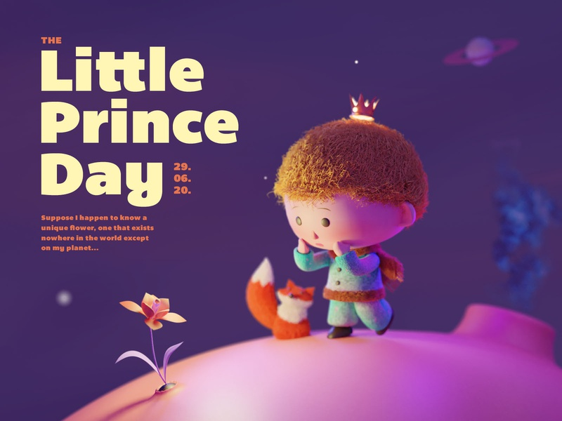 June 29th : The Little Prince Day character children book illustration design blender render 3d illsutration little prince