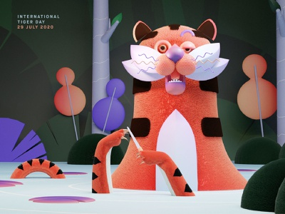 July 29th : International Tiger Day character render blender 3d art tiger illustration