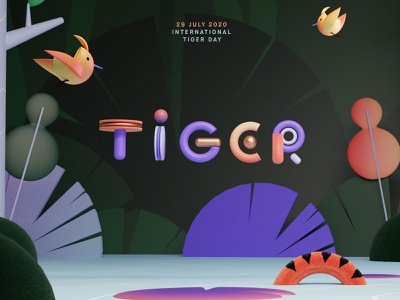 Tigergraphy typography render blender font character illustration
