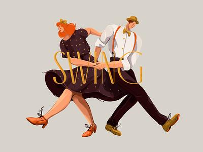 April 29th: International Dance Day painting epicdays procreate vintage font illustration dance swing