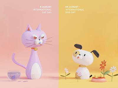 August 8th/26th: International Cat/Dog Day epicdays blender 3d dog cat design illustration character