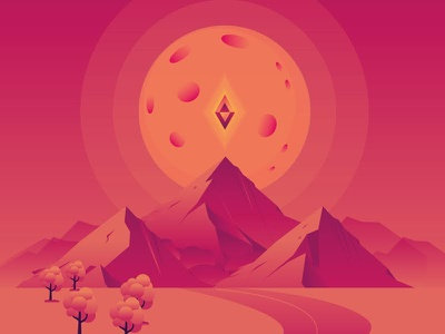 Another Diamand card landscape moon diamand illustration graphic design game card