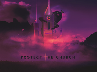 Protect the church cute game graphic design side project illustration club card  game design card