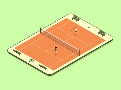 Another Tennis App cute game graphic design side project illustration club card  game design card