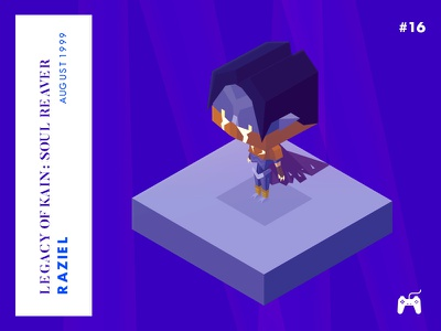 Year 1999 : Raziel - Legacy of kain legacy of kain raziel playstation retro low-poly isometric illustration game character challenge