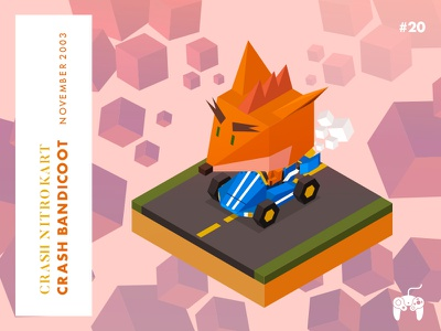 Year 2003: Ready Steady Go!!!! gamecube bandicoot crash low-poly isometric illustration game character challenge