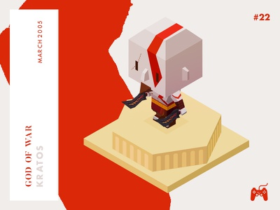 Year 2005: Let the war begin! god of war kratos playstation low-poly isometric illustration game character challenge