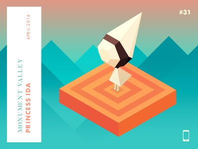 Year 2014: Monument Valley ida valley monument ios low-poly isometric illustration game character challenge