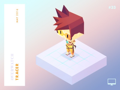 Year 2016: Tracer overwatch tracer low-poly isometric illustration game character challenge