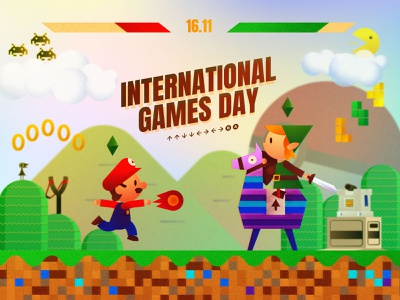 November 19th : Games day zelda mario fight gamer illustration design game
