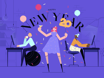 January 1st : Happy New Year work characters design wishes party illustration new year
