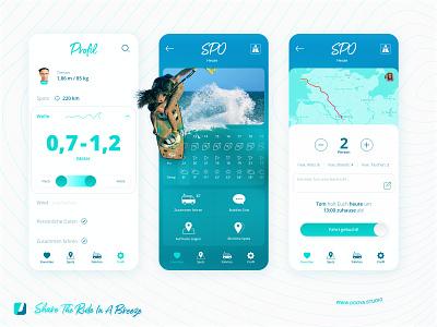Lift App – Ridesharing in a breeze hamburg freelance booyastudio prototype interaction design app design ux design ui design ridesharing kiteboarding