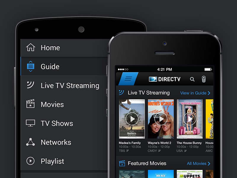 DIRECTV Phone Apps (iOS & Android) directv ios android tv ui carousels hamburger menu navigation