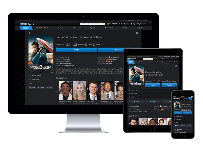 DIRECTV Everywhere Responsive Entertainment Experience web responsive ui entertainment watch tv directv
