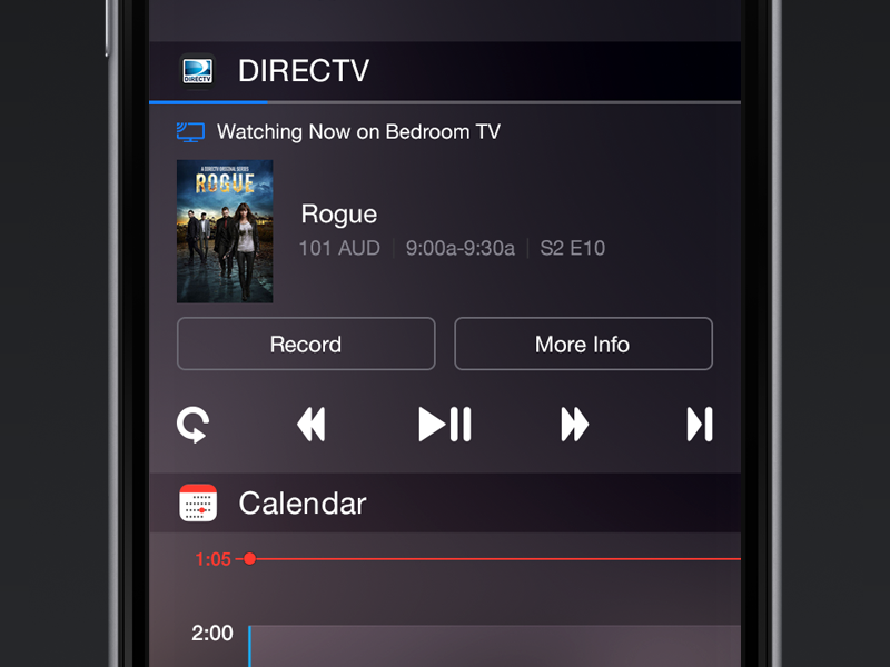 DIRECTV iOS8 Widget television record buttons control remote ui ios8 tv directv widget