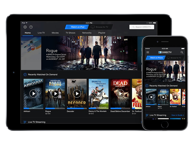 "AT&T / DIRECTV ""Watch"" Homepage mobile ui stream blue carousels tv att directv iphone ipad android ios"