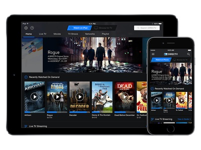 """AT&T / DIRECTV """"Watch"""" Homepage mobile ui stream blue carousels tv att directv iphone ipad android ios"""