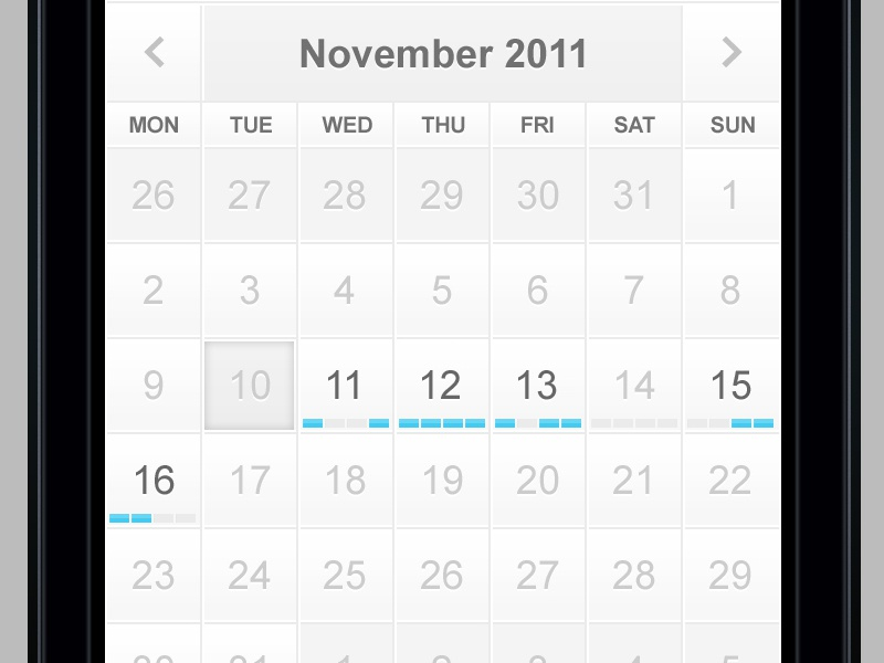 Mobile Calendar calendar mobile ios ui blue white clean retina minimal appointment scheduler acquisition order flow