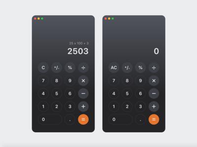 Calculator Mac OS App - Daily UI 004 mac os x daily ui 004 daily ui apple ui design calculator app mac os ui dailyui