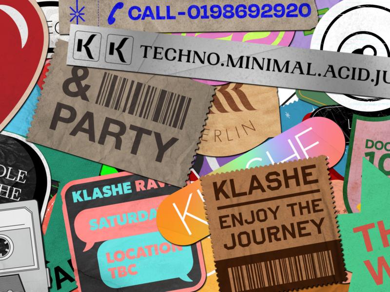 Klashe Records Sticker logo paste texture berlin rave techno music sticker design sticker