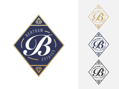 Bertram Estates Logo v2 realestateagent realestate badge seal icon minimal typography logo design daily branding flat