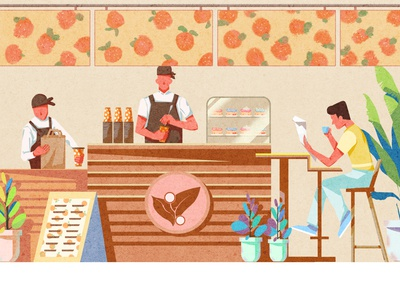 cafe art landing page minimal flat website web vector illustrator web design illustration