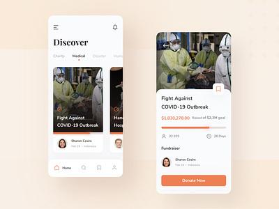 Fundraising App user interface mobile ui ux design ui design ui ux ux ui fundraising mobile donate fundraising app orange design minimal ios interface icon clean app design app
