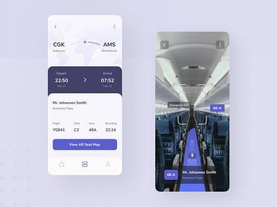 Airplane AR Navigation ux design ux boarding pass plane augmented reality art user interface ui design ui mobile minimal ios interface icon clean app design app