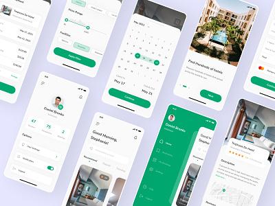 Hozin - Hotel Booking UI Kit mobile ui green ui8 hotel booking app hotel booking ux uiux ui kit kit ux design ui design ui mobile minimal ios interface icon clean app design app