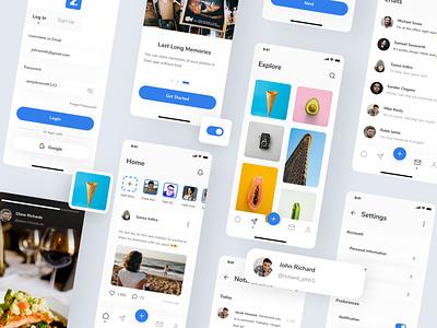 Zelio - Social Media App UI Kit iphone x blue ui8 ui kit social social app social media zelio ux design ux ui design ui mobile minimal ios interface icon clean app design app