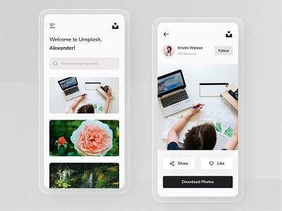Unsplash App Redesign redesign stock photos clean ui ui  ux iphone mobile app icon ux design ux ui design mobile minimal ios interface user interface ui clean app unsplash