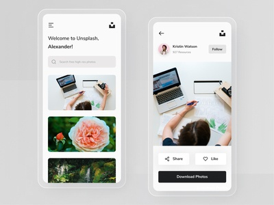Unsplash App Redesign redesign stock photos clean ui ui  ux iphone mobile app icon ux design ux ui design mobile minimal ios interface user interface ui clean app unsplash