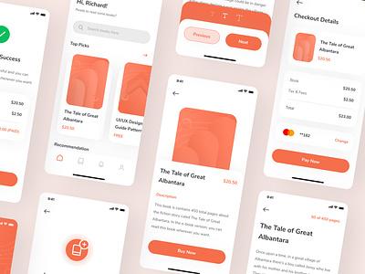 Cuby - E-Book Store & Reader App UI Kit icon ux design ui design minimal interface ux uiux mobile ios iphone orange clean reader read app ebook e-book cuby ui kit