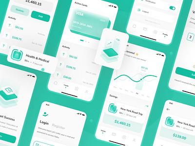 Nabu - Money Savings App UI Kit ui  ux ui8net uiux green illustration isometric app design mobile ios minimal app ux design ux clean interface ui design ui8 kit ui nabu