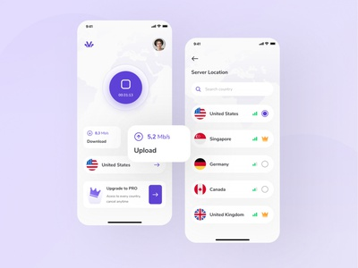 VPN App UI modern purple vpn app ui ux internet network private virtual vpn kit ui8 app design mobile app ui ux design ui design clean ux interface