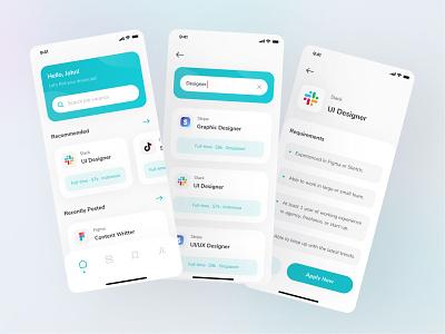 Jocy - Job Finder App modern app design job listing ui  ux finder work vacancy job finder job ui8 icon minimal mobile clean app ui ux design ui design ux interface