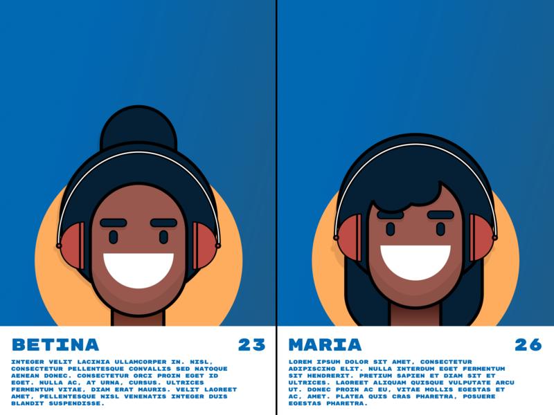 Betina & Maria Design 👩🏾💻👩🏽💻 ui design woman ilustration flat