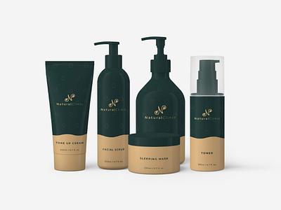 Natural Clinic packaging design branding design cosmetics brand design brand packaging branding logo design logo