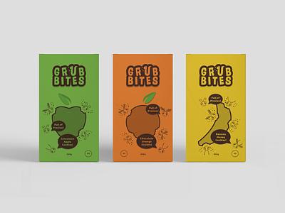 GrubBites sustainability sustainable package design entomology snacks vector logo design illustration packaging design packaging logo branding design branding